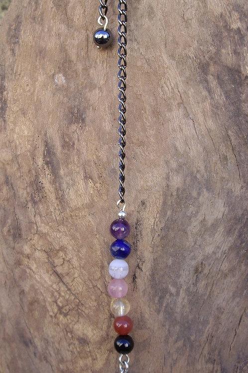 Pendule 7 chakras + cône Cristal de roche