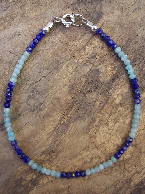 Amazonite – Lapis-lazuli rondelles 3x2 mm faceté