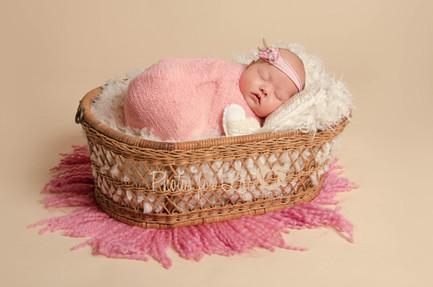 Newborn in basket oyster background Glasgow
