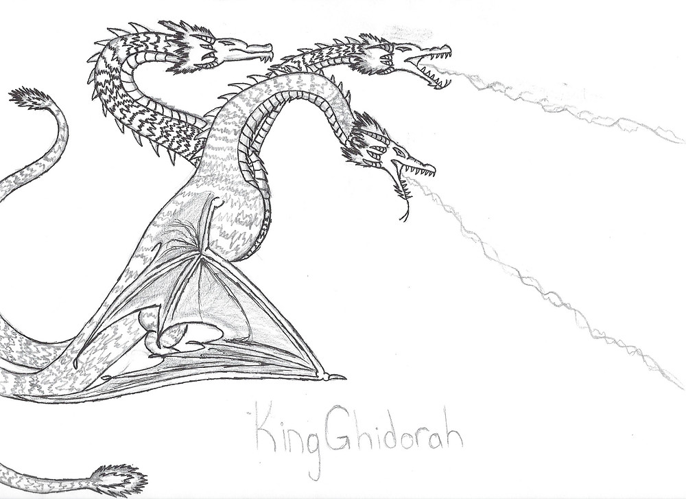 King Ghidorah as a wyvern