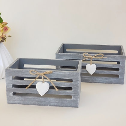 Set 2 cajas madera gris
