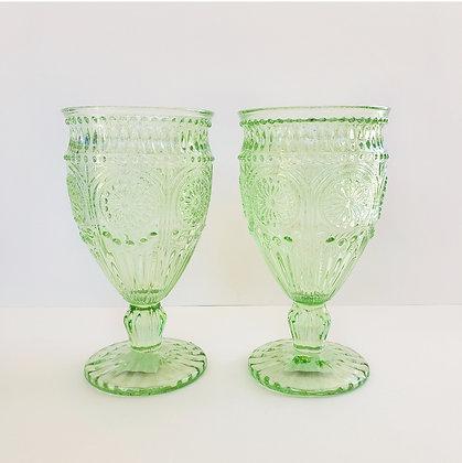 Set 2 copas flor verdes