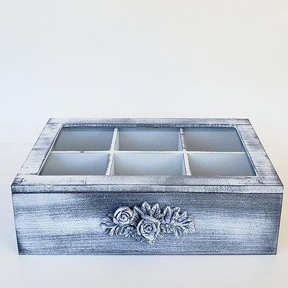 Caja de té 6 gris flor