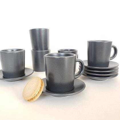 Juego 6 tazas café grafito mate