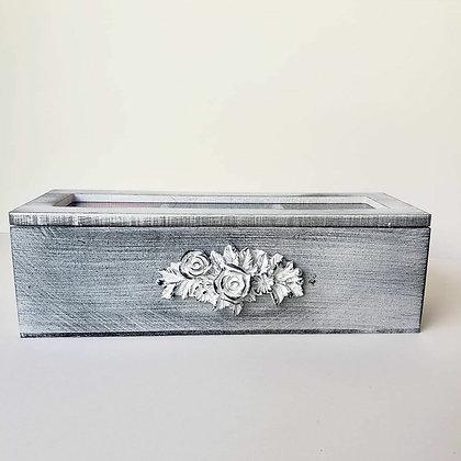 Caja de té gris flor