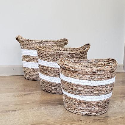 Set 3 canastos fibra blanco