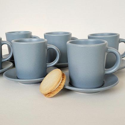 Juego 6 tazas café celeste mate