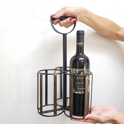 Porta Botellas 3 espacios fierro