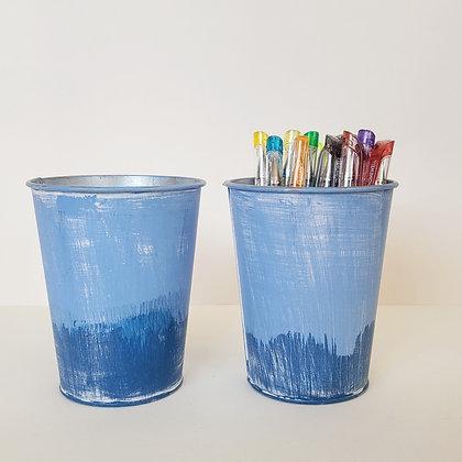 Set 2 Baldes rústicos azul