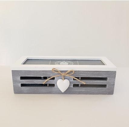 Caja de té 3 gris corazón