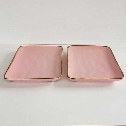 Set 2 bandejas lisas rosada