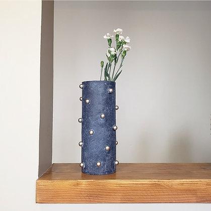 Florero perlas azul
