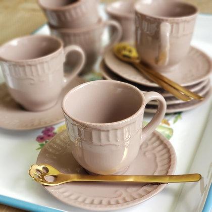 Juego 6 tazas y platos color café