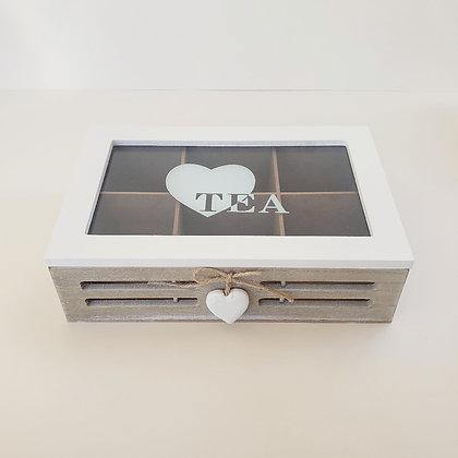Caja de té 6 beige corazón