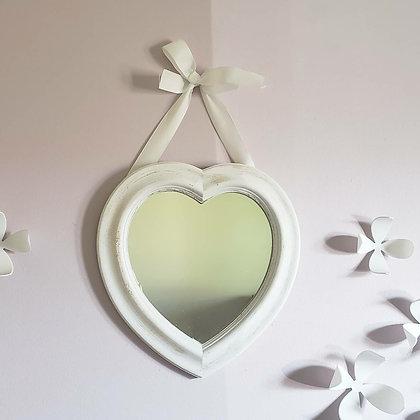 Espejo corazón blanco