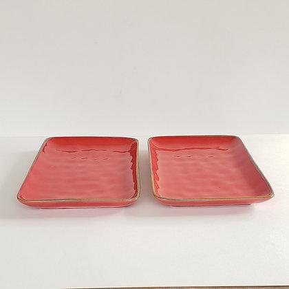 Set 2 bandejas lisas roja