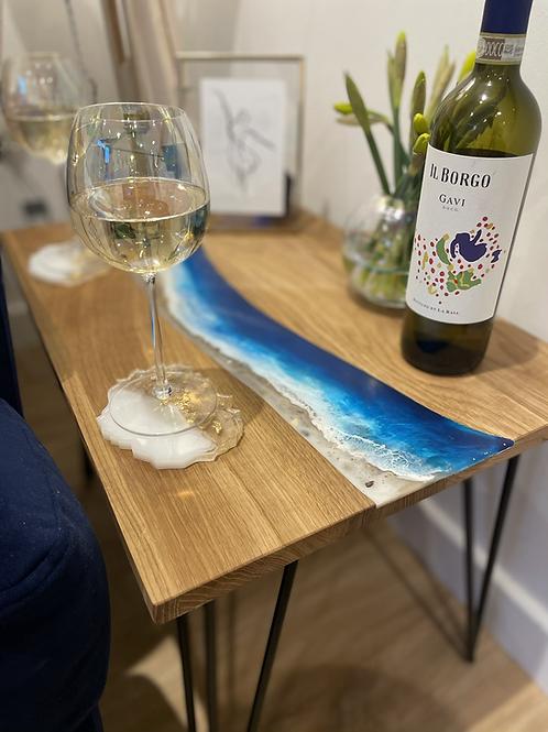 Ocean Blue Side Table - Solid Oak