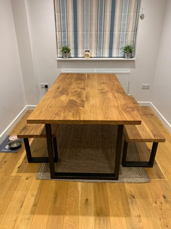 Solid Oak Dining Table and Bench Set.JPG