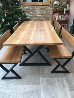 Live Edge Solid Oak Dining Table Set