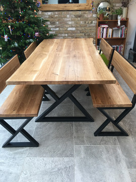 Live Edge Solid Oak Dining Table Set