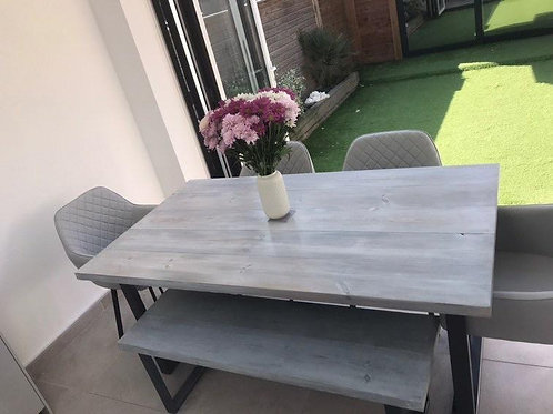Industrial White Wash Dining Table