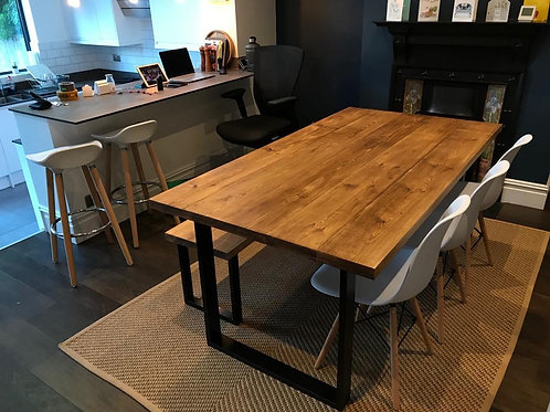 Bespoke Industrial Dining Table - Oak Coloured Solid Pine