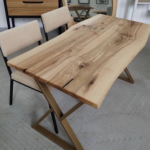 Live edge solid oak dining table
