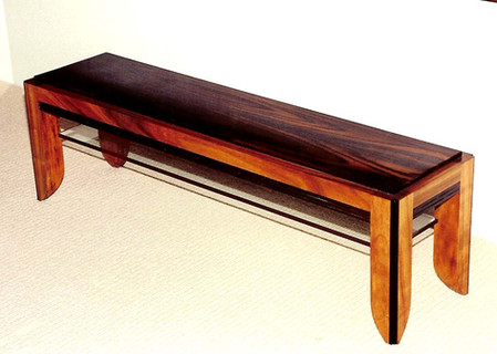 East Indian Rosewood, Koa, and Glass Coffee Table