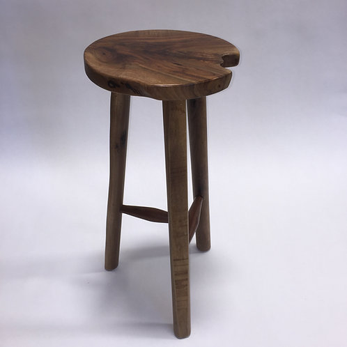 Handmade Three-Legged Stool with Live Edge Legs
