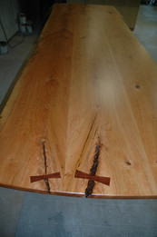 Cherry Live Edge Table Top wit Rosewood Butterflies