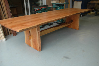 Live Edge Trestle Table with Live Edge Top