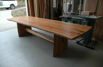Live Edge Trestle Table with Rosewood Butterflies