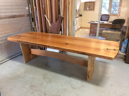 Live Edge Bookmatch Cherry Table with Rosewood Butterflies