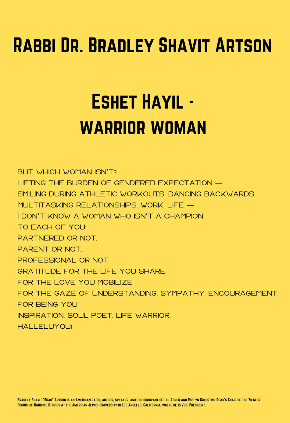 Rabbi Dr. Bradley Shavit Artson: Eshet Hayil - Warrior Woman