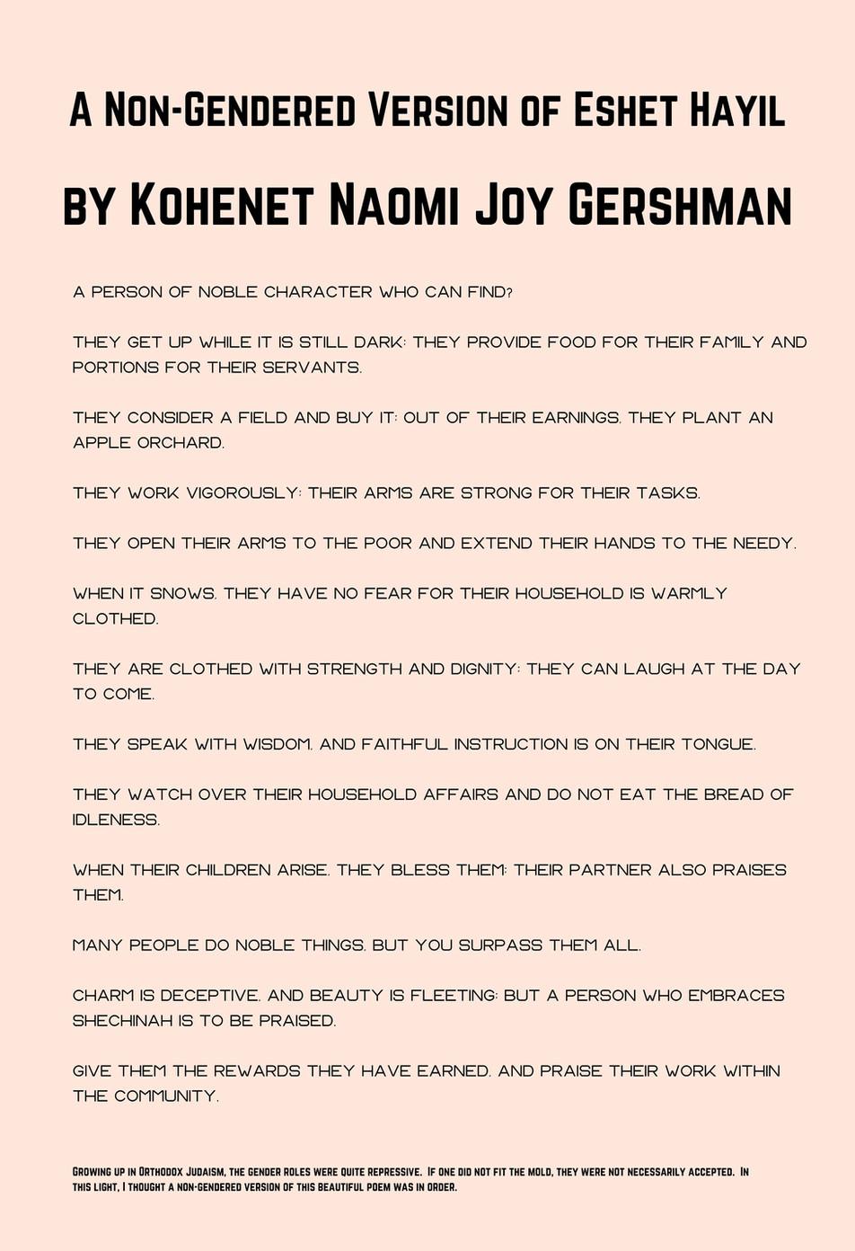Kohenet Naomi Joy Gershman: A Non-Gendered Version of Eshet Hayil