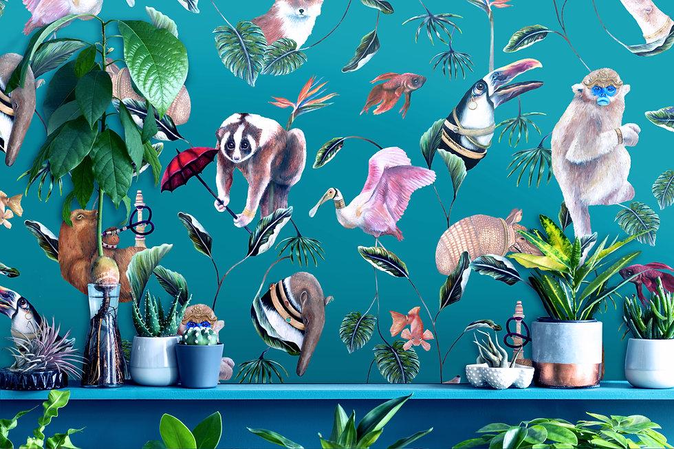 Boh Palms teal wallpaper plants shutters
