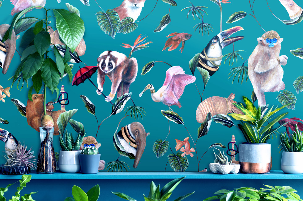 Boh Palms teal wallpaper plants shutters