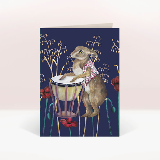 TIMPANI HARE - GREETINGS CARD