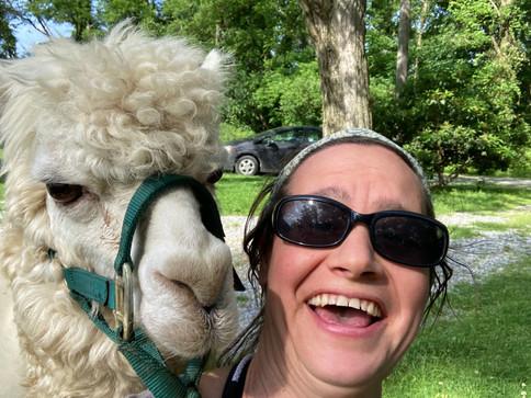 Julia and Benny (the angry alpaca)