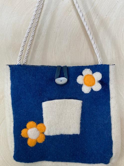 Blue & White Floral Shoulder Bag