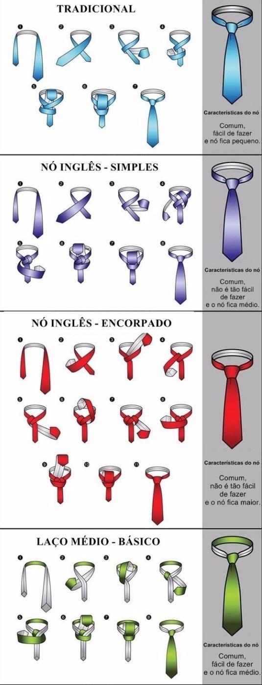 Tipos de nó na gravata Como dar um nó na gravata