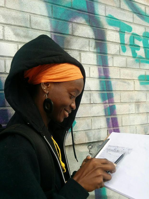 cours de dessin en extérieur / outside drawing class