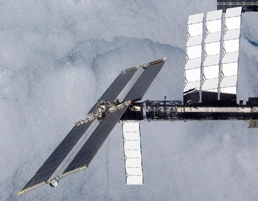 The ISS's panels & radiators (white panels)