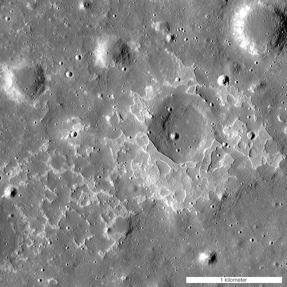 Evidence of a small basaltic eruption on the Moon (an irregular mare patch).