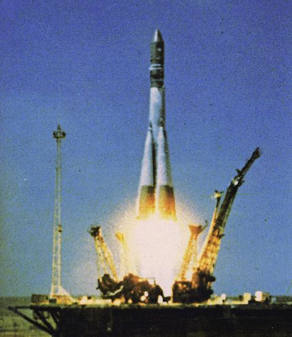 Vostok 1 launching on 12th April 1961, with Gagarin inside