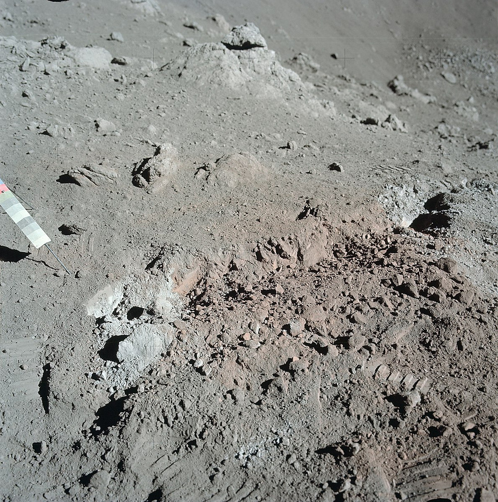 Orange Taurus-Littrow soil, orange because of microscopic glass beads from early lunar volcanism