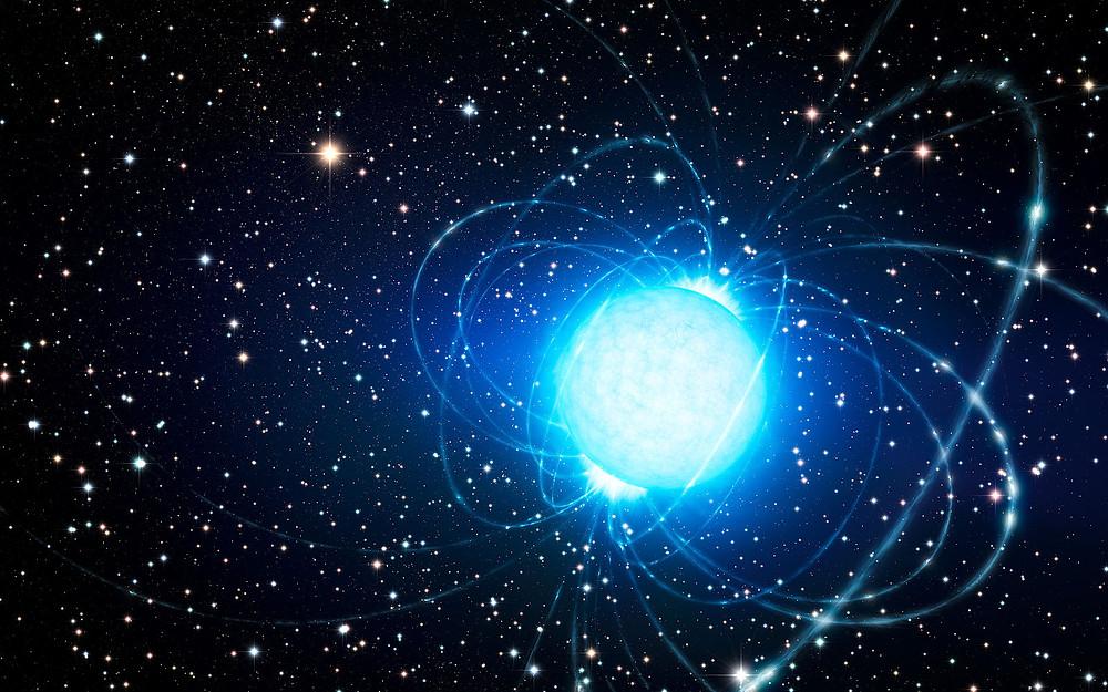 Artist Impression of magnetar in star cluster Westerlund 1