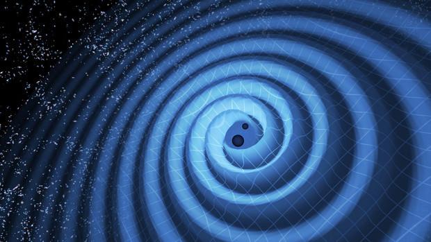 Black hole merger producing gravitational waves