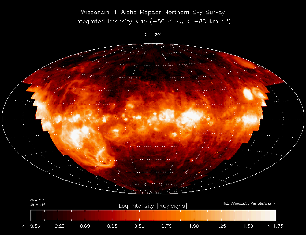 Survey of the ionised gas in the Milky Way, surveyed by WHAM (Wisconsin H-Alpha Mapper)