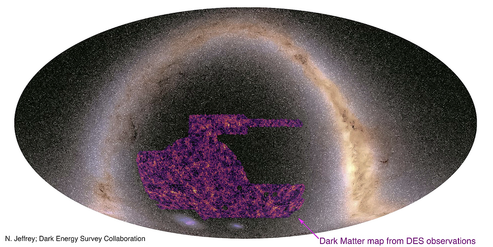 Map of the optical Gaia sky overlaid with the map of dark matter, showing: filaments, voids, and halos (where galaxy clusters lie)
